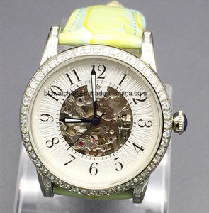 Stainless Steel Mens Mechanical Skeleton Wrist Watch Fashion with Crystal pictures & photos