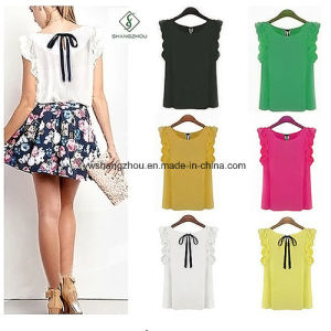 2017 Fashion Women Sleeveless Chiffon Blouse T-Shirt with Bowknot pictures & photos