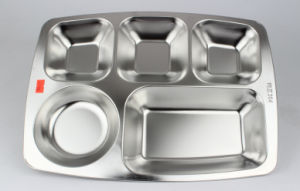 5 Compartment Stainless Steel Fast Food Tray/Snack Tray pictures & photos