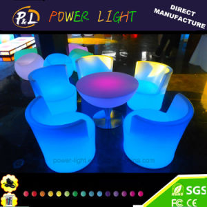 Garden Furniture Illuminated Plastic Round LED Coffee Table pictures & photos
