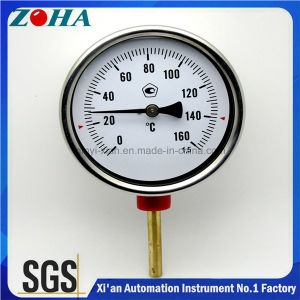 Chrome Steel Case Bimetal Thermometer with Brass Thermowell pictures & photos