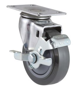 Threaded Stem PU Caster with Side Brake pictures & photos