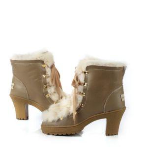 Sheepskin Sexy Women High Heel Boots