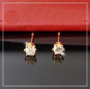 Gold Yellow 3mm Clear Round CZ Ear Studs