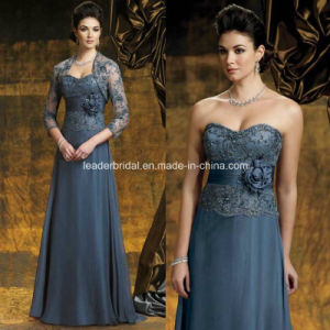 Strapless Sleeveless Jackets Mother of The Bride Dress Dark Blue Full Length Satin Eveing Gowns B-6 pictures & photos
