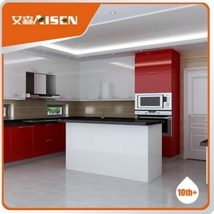 Glossy Custom Made Wood Board Kitchen Cabinets for Hotel Furniture pictures & photos