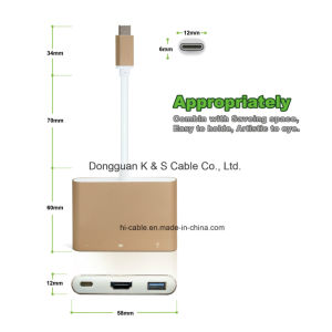 USB Type-C Adapter Aluminum Alloy to Multi-Port Type C, + 4k HDMI (30Hz) + USB 3.0 Ports pictures & photos