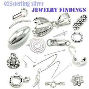 Solid 925 Sterling Silver Jewelry Findings/Components/Accessory, Silver Earrings, Necklace, Bracelets, Silver Charms
