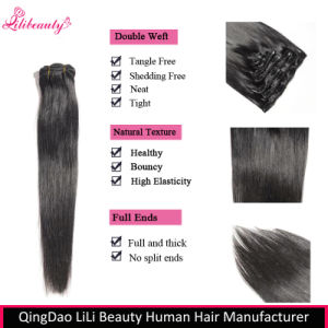 Wholesale 100% Unprocessed Human Hair Clip in Hair Extensions pictures & photos