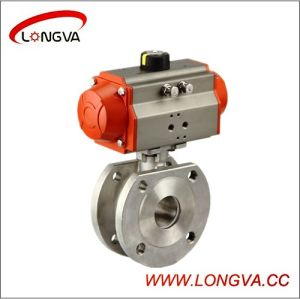 Stainless Steel Pneumatic Wafe Type Flange Ball Valve pictures & photos