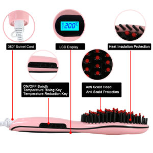 Private Label LCD Electric Brush Hair Straightener pictures & photos