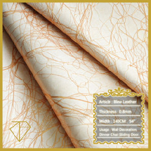Semi- PU Upholstery Leather for Home Decoration with Lightning Grain