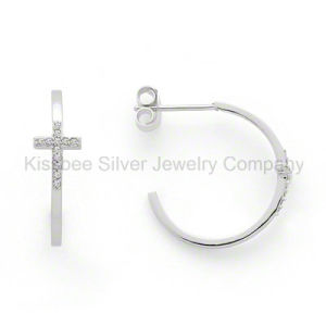 Fashion Sterling Silver Jewelry Cross Earrings with Cubic Zirconia (KE3007) pictures & photos