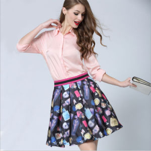 Women′s 3D Printed High Waist Pleated Short Swing Skirt Clothes pictures & photos