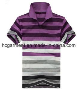 Men′s T-Shirt, Cotton Purple Color Strip Polo for Man pictures & photos