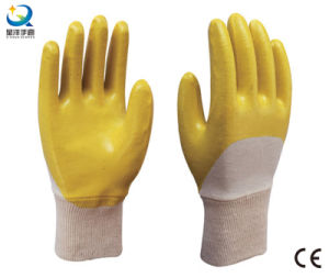 Cotton Interlock Shell Yellow Nitrile Half Coated Safety Gloves (N6044) pictures & photos