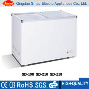 Sliding Flat Glass Door Chest Freezer with Lock&Key pictures & photos