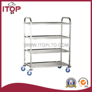 Four-Layer Round Tube Stainless Steel Ingredients Dining Trolley (A1035) pictures & photos