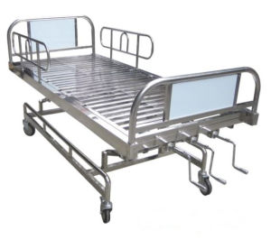 Stainless Steel Three Cranks Manual Hospital Bed (SK-MB128) pictures & photos