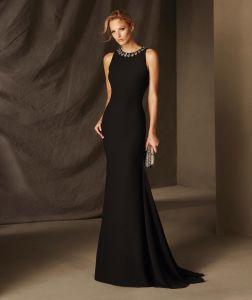 Hot Sale Brand Name Floor Length Mermaid Black Tulle Appliqued Full Figure Long Sleeve Evening Dresses From Dubai (LH0025)