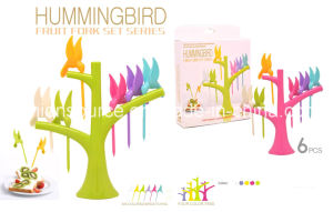 6PC Hummingbird Fruit Fork Set/Plastic Fruit Fork/Toothstick/ABS pictures & photos
