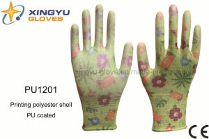Printing Polyester Shell PU Coated Safety Work Glove (PU1201) pictures & photos