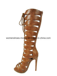 Wholesale Women High Heels Lady Long Boots with Lace up pictures & photos