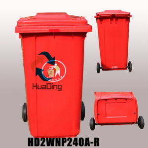 240L Plastic Ash Bin Rubber Wheel Trash Can for Outdoor pictures & photos