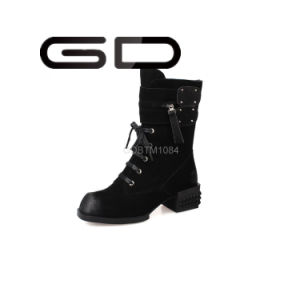 Gd Womens Stylish Punk Leather Lace-up MID Boots