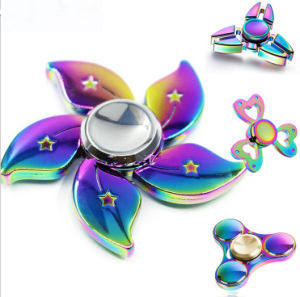 Fidget Factory Stock Chrome Metal Fidget Spinner Rainbow pictures & photos