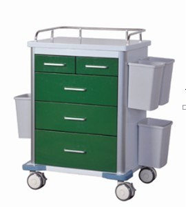 AG-GS002 Modern Dark Green Powder Coating Medical Trolley pictures & photos