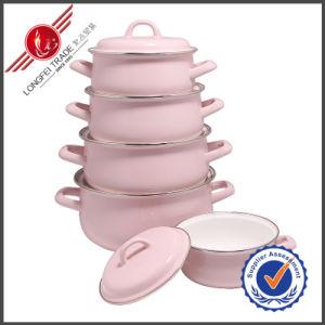 Pink Plain Kitchenware Eco-Friendly Enamel Cookware Set pictures & photos