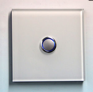 Tempered Glass 1-Gang Push Button Intermediate Light Electrical Switch with LED Backlight