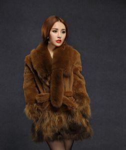 2014 Winter Rex Rabbit Hair Fur Fox Medium-Long Plus Size Women Outerwear pictures & photos