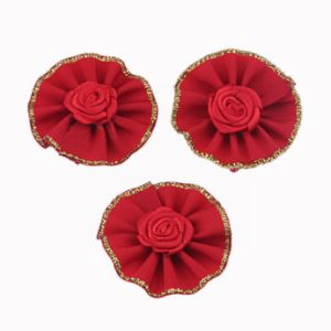 Red Satin Flower with Metallic Line Edge pictures & photos