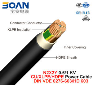 N2X2y, Power Cable, 0.6/1 Kv, Cu/XLPE/HDPE (DIN VDE 0276-603/HD 603) pictures & photos