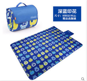 Competitive Price Blue Printed Microfiber Picnic Blanket pictures & photos