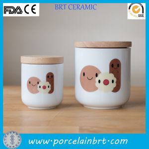 Round Cheap White Ceramic and Bamboo Cookie Jar pictures & photos