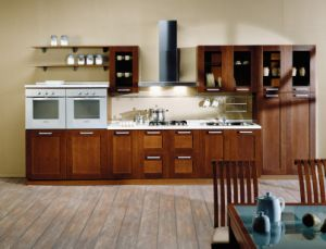 Solid Wood Cherry Wood Kitchen Cabinet pictures & photos