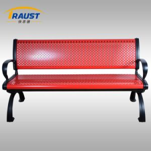 Outdoor Steel Leisure Bench with Backrest and Armrest pictures & photos