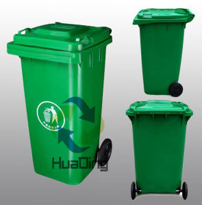 Outdoor Plastic Dustbin 120L with Green pictures & photos