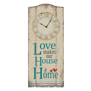 Wood Wall Plaque with Clock - Love Home