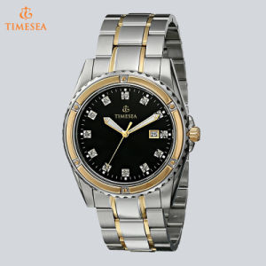 Men′s Diamond Analog Display Japanese Quartz Two Tone Watch 72540 pictures & photos