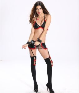 Ladies PU Erotic Sm Dress with Bra & Suspender Stocking pictures & photos