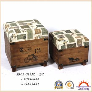 Upholstery Fabric Rectangular Storage Ottoman Wooden Trunk pictures & photos