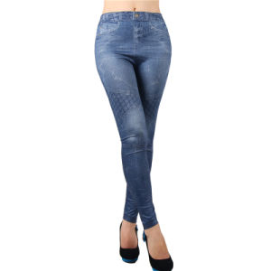 2017 Hot Sale Women Sexy Many Patterns Denim Jean Stretchy Leggings pictures & photos