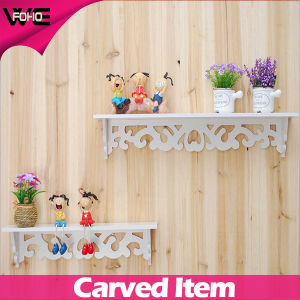 White Carved Wooden Decorative Wall Shelving Systems for Flowers pictures & photos