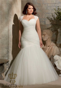 Plus Size Soft Net Removable Shoulder Cover with Alencon Lace Appliques Bridal Wedding Dress pictures & photos