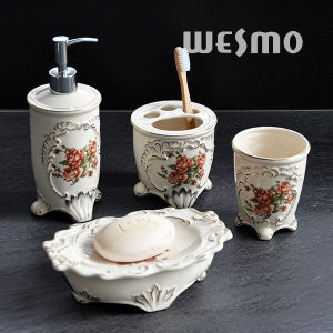 Elegant Decal Porcelain Bathroom Set (WBC0850A) pictures & photos
