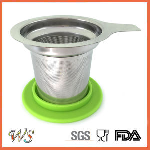 Stainless Steel Mug Tea Filter Tea Infuser Silicone Rimmed Lid Strainer Ws-If001